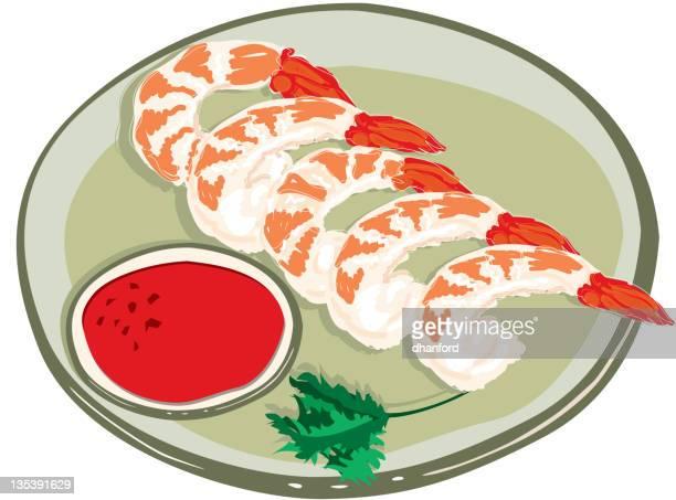 ilustraciones, imágenes clip art, dibujos animados e iconos de stock de camarón al vapor y salsa de cócteles, dibujo a mano - al vapor