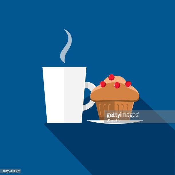 steaming coffee mug and muffin flat design themed icon with shadow - muffin stock illustrations, clip art, cartoons, & icons