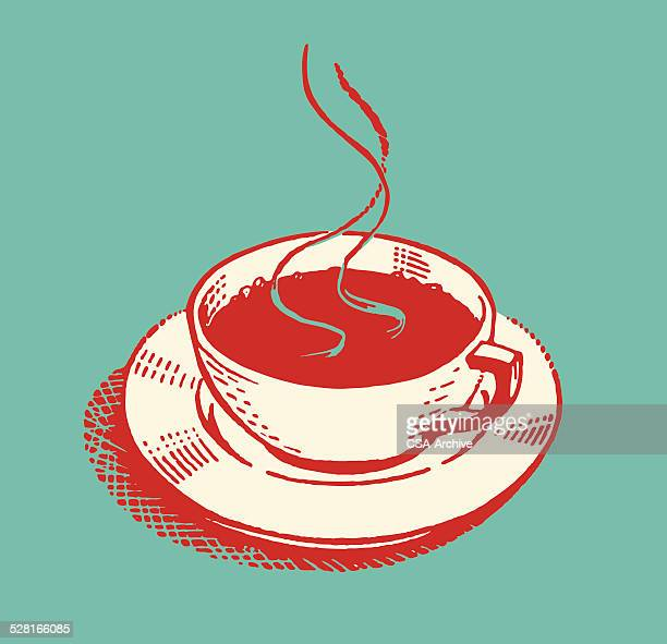 Steaming Hot Beverage in Cup on Saucer