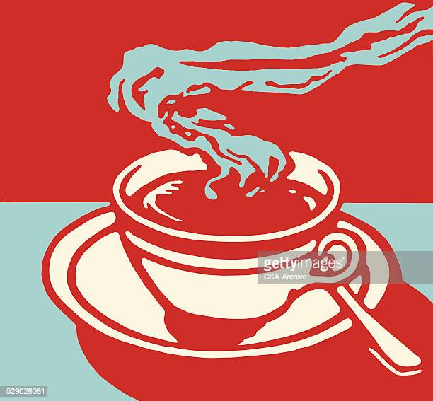 steaming hot beverage in cup on saucer - caffeine stock illustrations, clip art, cartoons, & icons