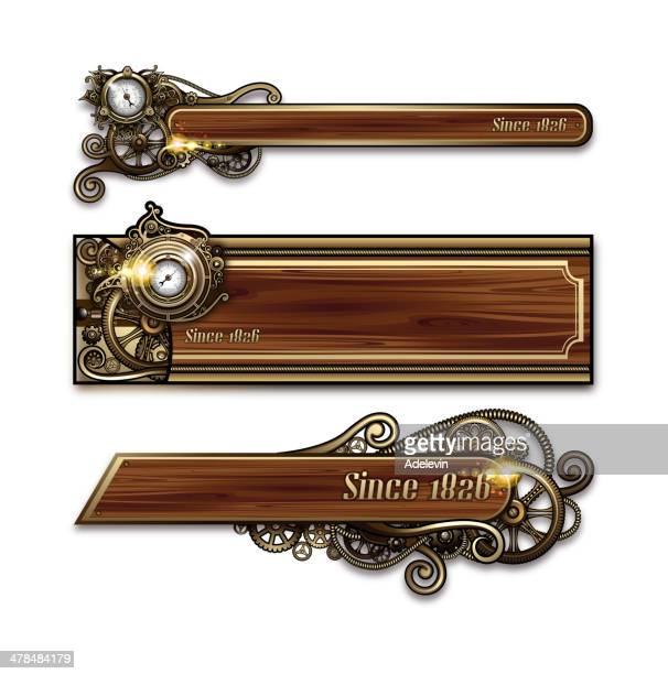 steampunk advertising signs - steampunk stock illustrations