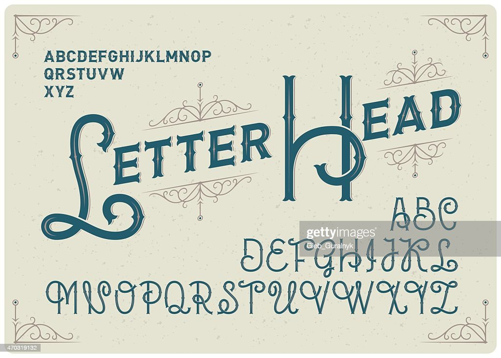 Steampunk alphabet with decorative ornate