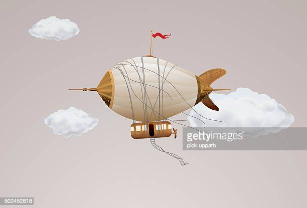steampunk zeppelin airship - weichzeichner stock-grafiken, -clipart, -cartoons und -symbole