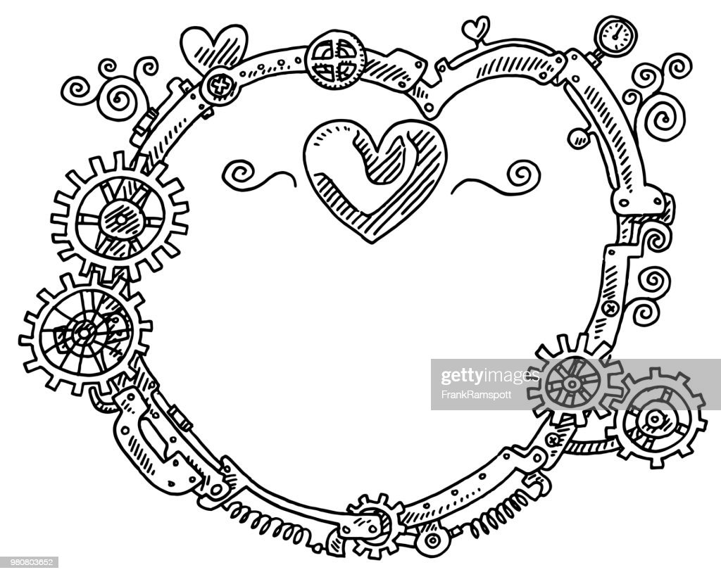 Steampunk Elements Round Frame Heart Shape Drawing Vector Art ...