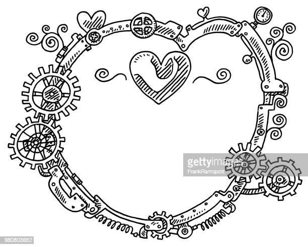 Steampunk-Elementen runder Rahmen Herz-Form-Zeichnung