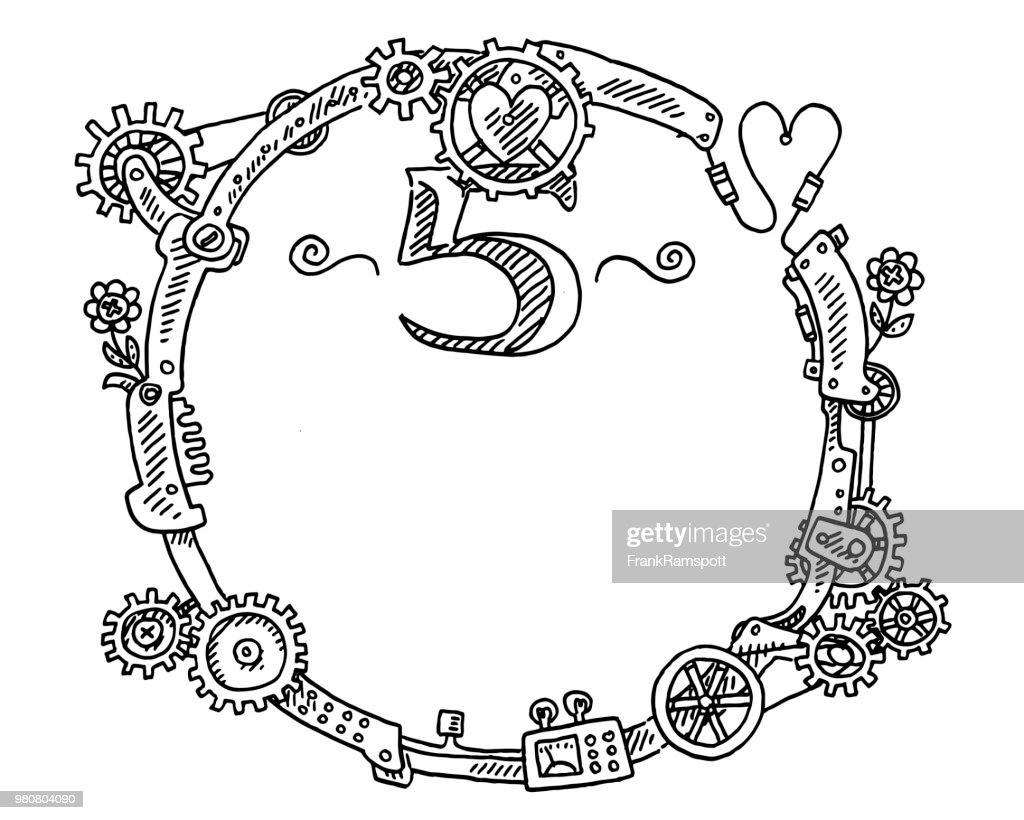 Steampunk Elements Round Frame Number 5 Drawing Vector Art | Getty ...