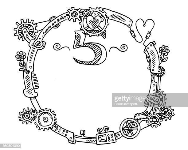 Steampunk-Elementen runder Rahmen Nummer 5 Zeichnung