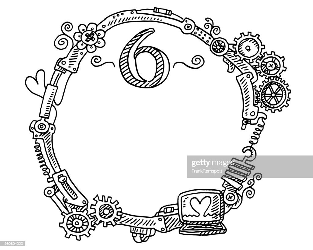 Steampunk Elements Round Frame Number 6 Drawing Vector Art | Getty ...