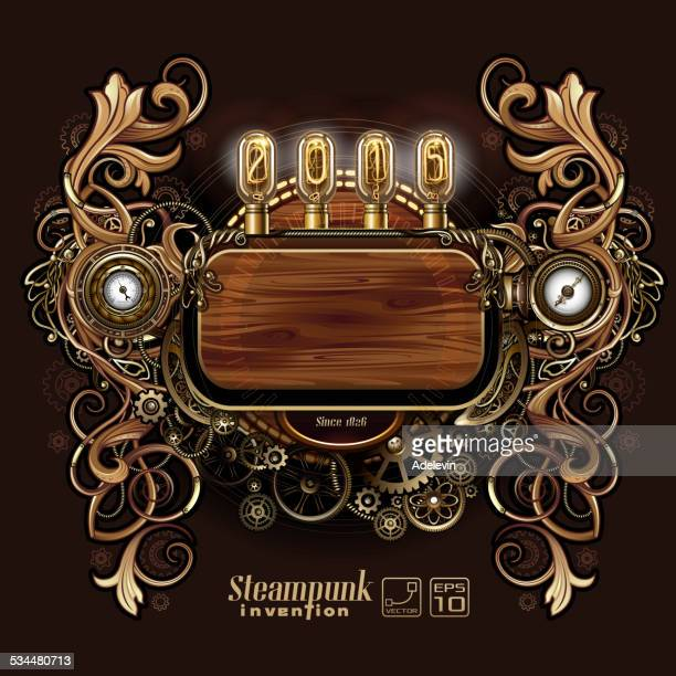 steampunk florals frame - steampunk stock illustrations