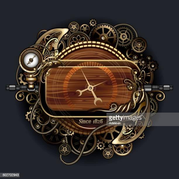 steampunk futuristic clock - steampunk stock illustrations