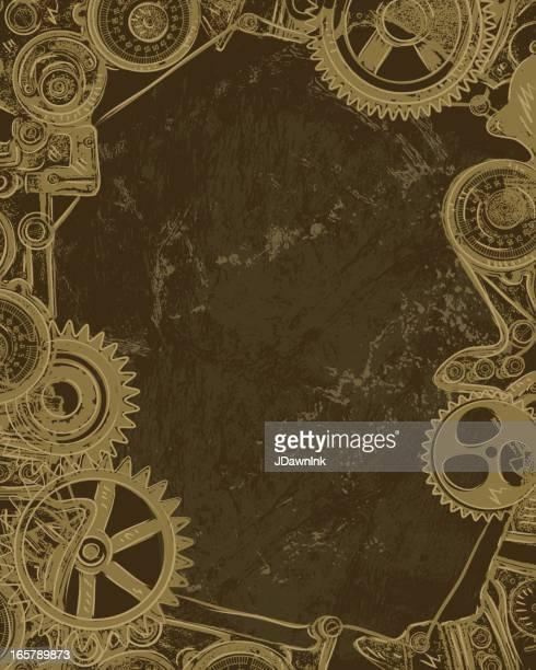 steampunk gear background - steampunk stock illustrations