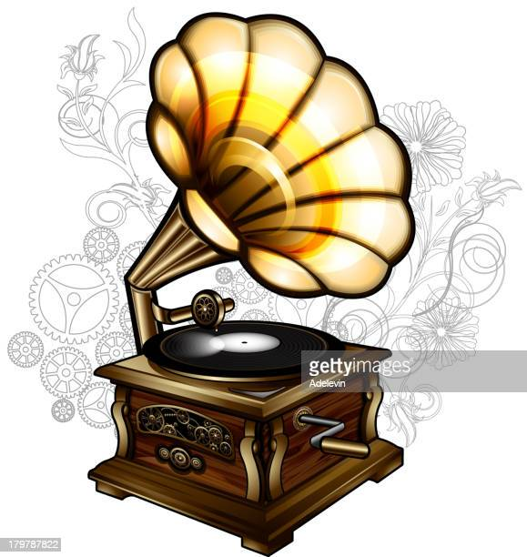 steampunk gramophone - gramophone stock illustrations, clip art, cartoons, & icons