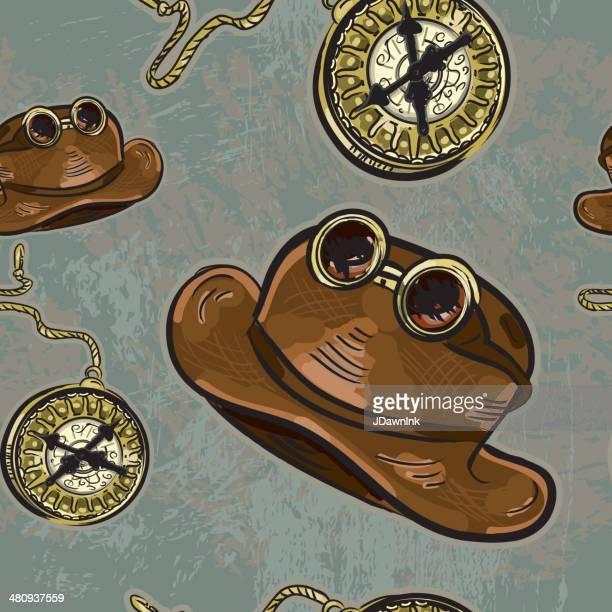 ilustraciones, imágenes clip art, dibujos animados e iconos de stock de steampunk sombrero y googles, reloj de bolsillo repetir patrón perfecto. - reloj de bolsillo