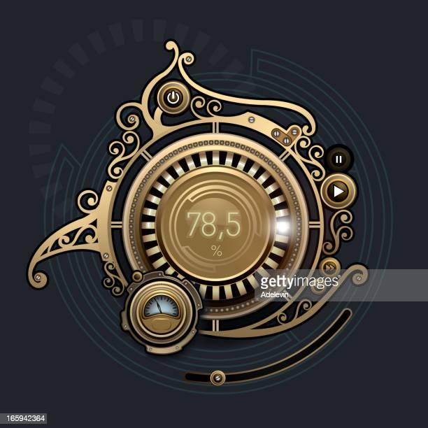 steampunk interface player - steampunk stock illustrations