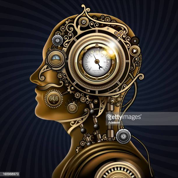 steampunk mechanical human - steampunk stock illustrations