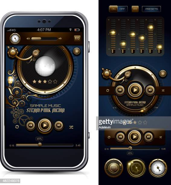 steampunk media player interface - gramophone stock illustrations, clip art, cartoons, & icons