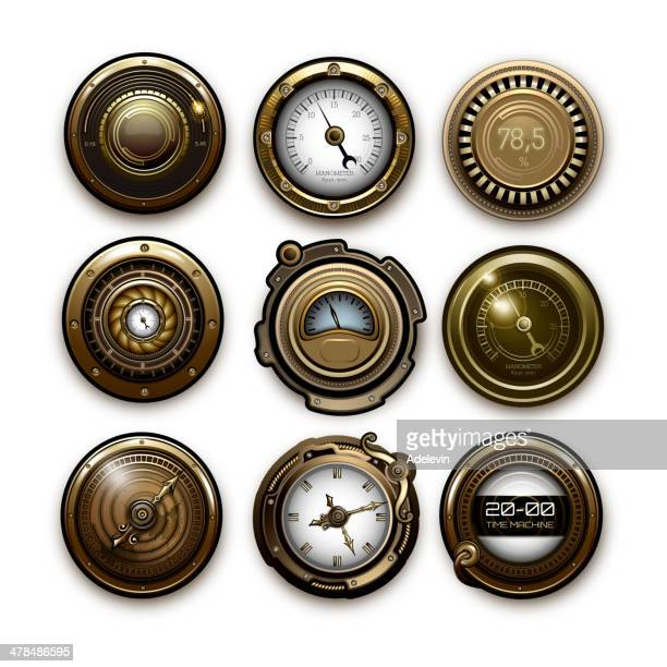 steampunk sensors - steampunk stock illustrations