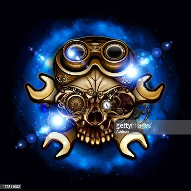 steampunk skull - flare stack stock illustrations, clip art, cartoons, & icons
