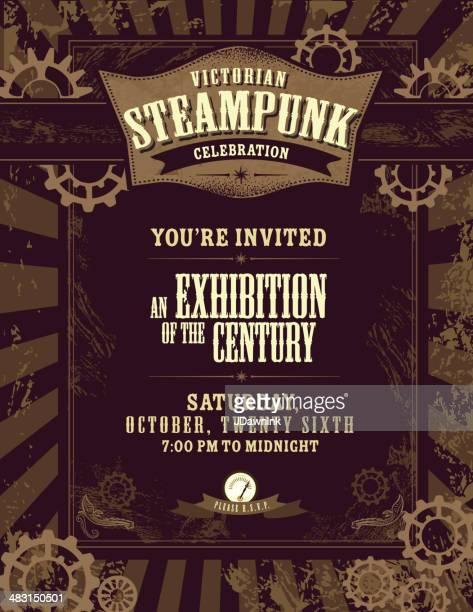 steampunk themed invitation design template - steampunk stock illustrations