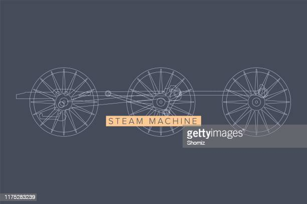 steampunk vector design with industrial technical elements - plunger stock illustrations, clip art, cartoons, & icons
