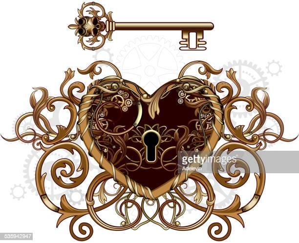 steampunk viktorianischen herz-symbol - 19. jahrhundert stock-grafiken, -clipart, -cartoons und -symbole