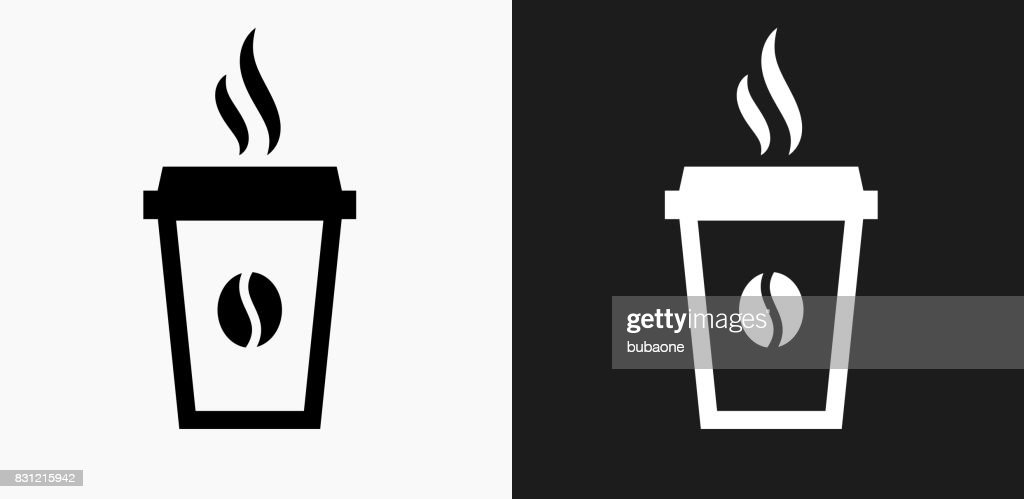 Steamy Coffee Cup Icon on Black and White Vector Backgrounds : Stock Illustration