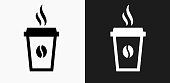 Steamy Coffee Cup Icon on Black and White Vector Backgrounds