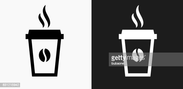 steamy coffee cup icon on black and white vector backgrounds - temperature stock illustrations