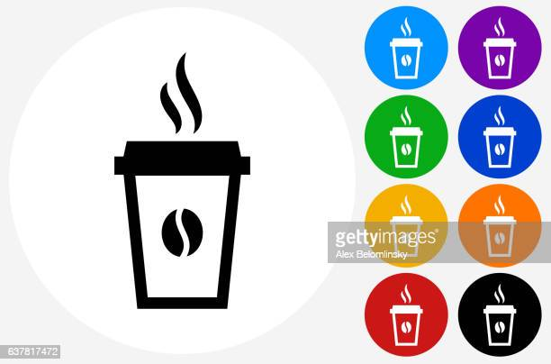 Steamy Coffee Cup Icon on Flat Color Circle Buttons