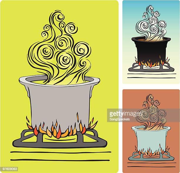 steamy pot illustration - stew pot stock illustrations