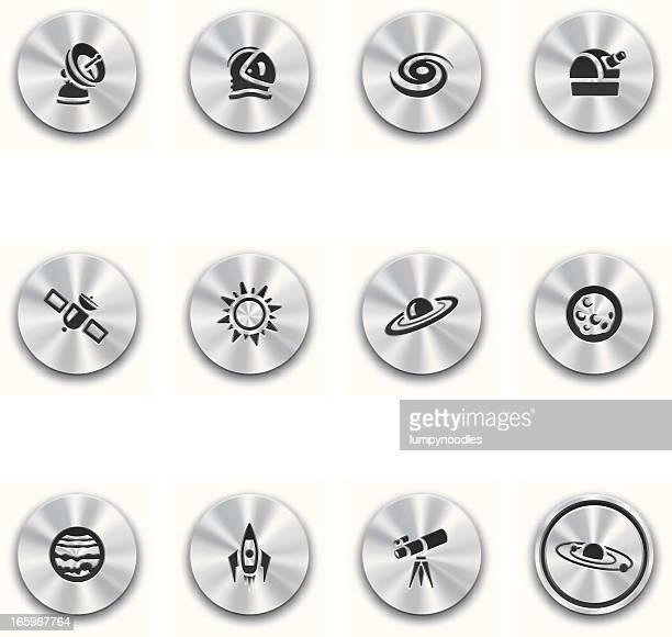 ilustraciones, imágenes clip art, dibujos animados e iconos de stock de astronomía botones de acero - galaxiaespiral
