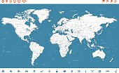 Steel Blue World Map and navigation icons - illustration