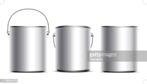 steel can buckets - container stock illustrations