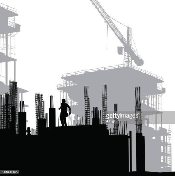 steel frame construction - foundation stock illustrations, clip art, cartoons, & icons