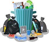 Steel garbage bin full of trash.