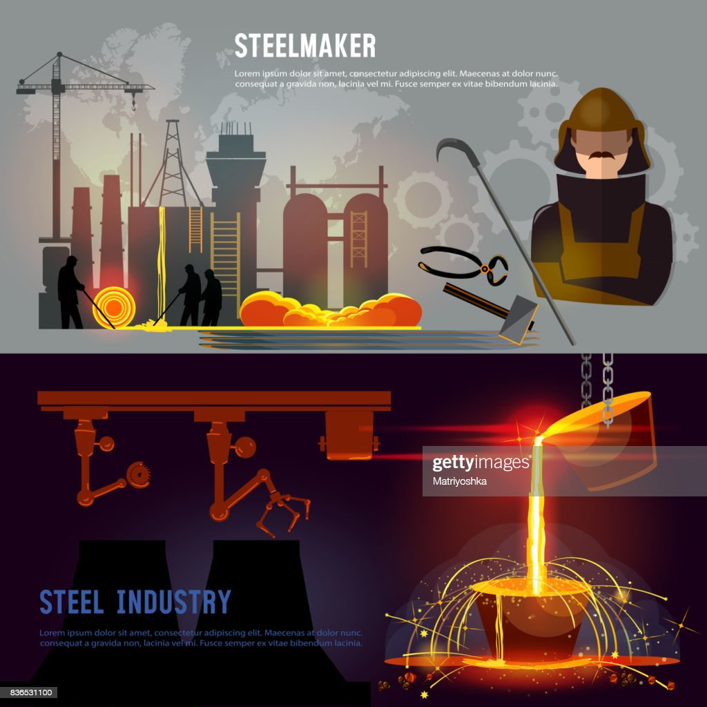 Steel industry banner, iron and steel factory workshop. Steel worker. Metallurgy process. Hot steel pouring in steel plant. Smelting of metal in big foundry