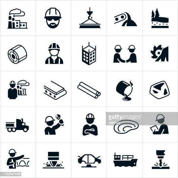steel industry icons - steel stock illustrations