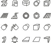 Steel material products line vector icons. Steel pipe and beam metallurgy outline pictograms