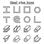 Steel Pipe icons set in thin line style