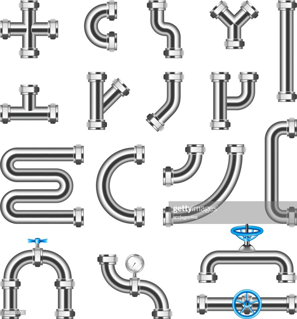 Steel pipes details constructor vector set
