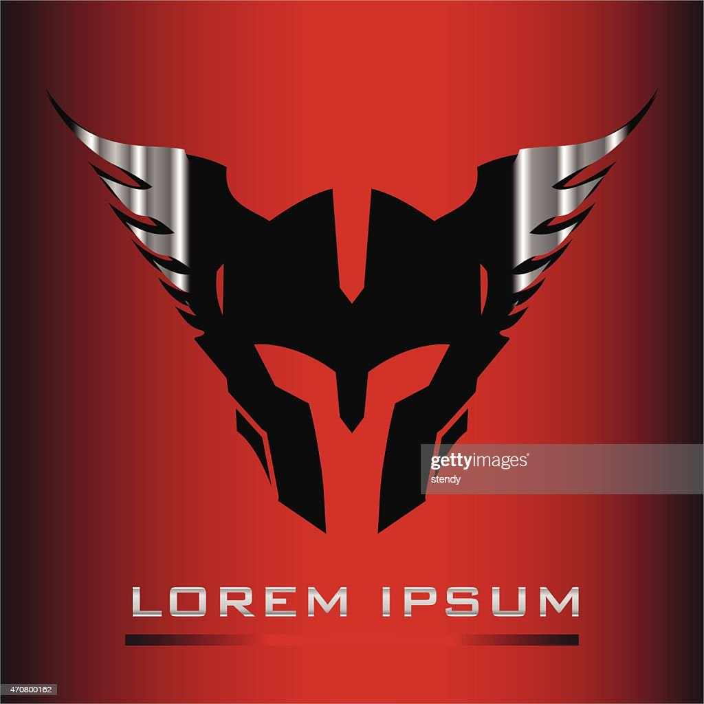 Steel Winged head Warrior Mascot over the red background