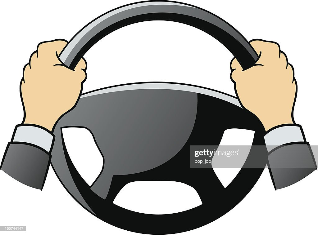 Steering wheel and hands : stock illustration
