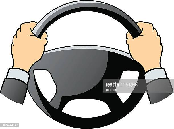 steering wheel and hands - steering wheel stock illustrations