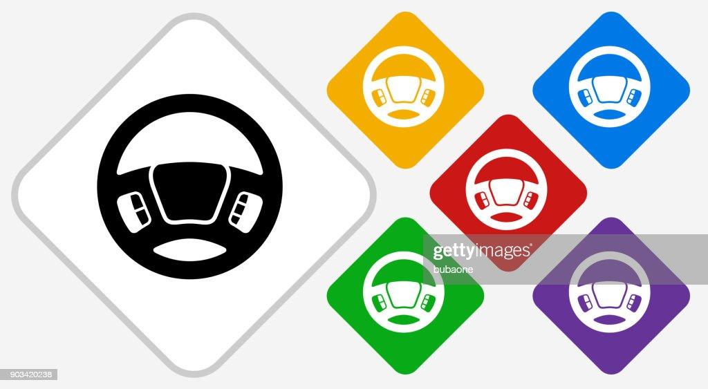 Steering Wheel Color Diamond Vector Icon : stock illustration
