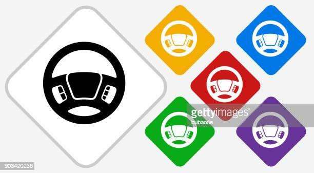 Steering Wheel Color Diamond Vector Icon