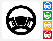 Steering Wheel Icon Flat Graphic Design