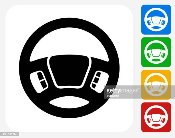 steering wheel icon flat graphic design - steering wheel stock illustrations