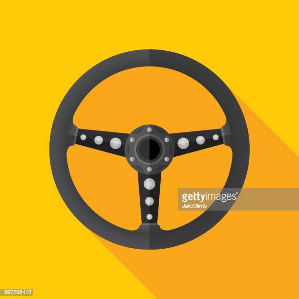 steering wheel icon flat - rally car racing stock illustrations, clip art, cartoons, & icons