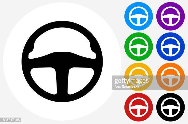 Steering Wheel Icon on Flat Color Circle Buttons