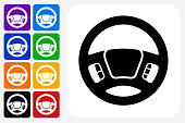 Steering Wheel Icon Square Button Set